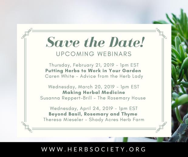 February Webinar: Herbs Work Hard in theGarden
