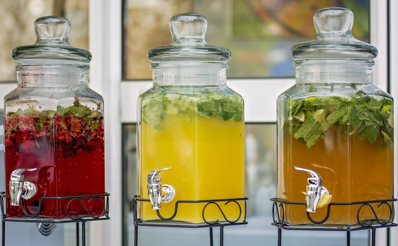Colorful herb drinks