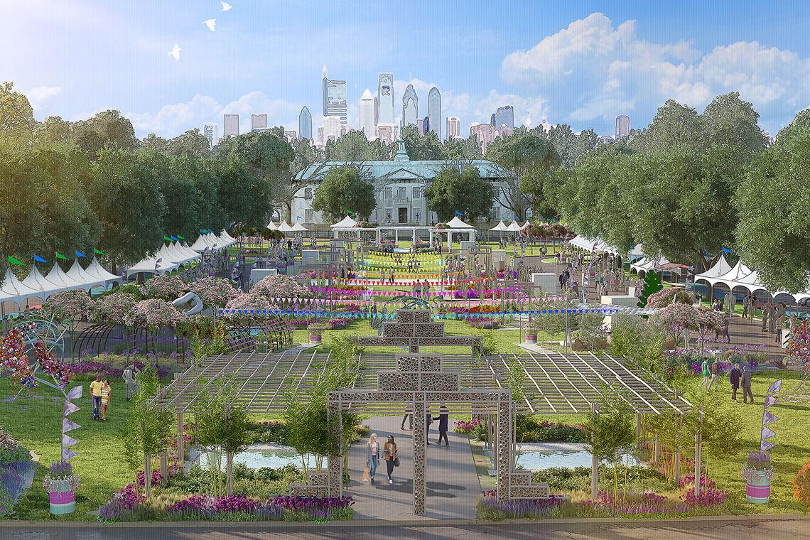 Rendering of The Philadelphia Flower Show 2021