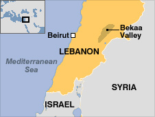 Map of Lebanon and the Bekaa Valley